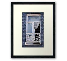 Blue Brick Window Framed Print
