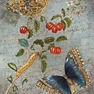 Vintage Floral Collage - Carte Postale & Butterfly - Blue Floral & Berries - French Script by traciv