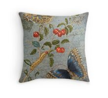 Vintage Floral Collage - Carte Postale & Butterfly - Blue Floral & Berries - French Script Throw Pillow