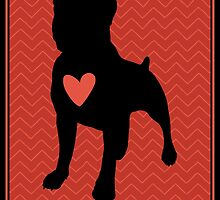 """Pit Bull Terrier """"Loving Dog"""", Red Chevron by PetInks"""