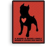 "Pit Bull Terrier ""Loving Dog"", Red Chevron Canvas Print"