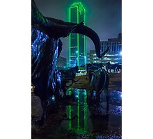 Foggy Pioneer Plaza Cattle Drive at Night Photographic Print