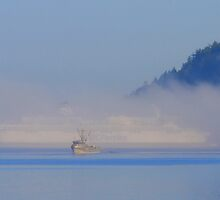fishing boat and BC Ferries in fog  by TerrillWelch