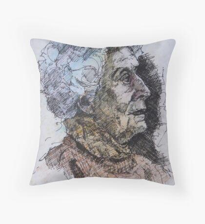 Senior lady side view  Throw Pillow