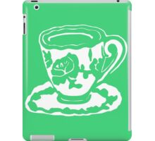 Green Rose White Teacup Printmaking Art iPad Case/Skin