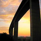 Motorway bridge/viaduct to Budapest at sunset_Hungary by ambrusz
