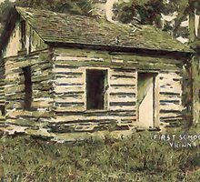 A digital painting of First School House, Vienna, Virginia, USA 1927 by Dennis Melling