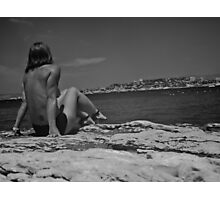 Girl looking at Marseille Photographic Print