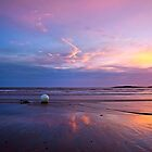 Sunset, Moon, Sea and Beach Buoys by picturistic