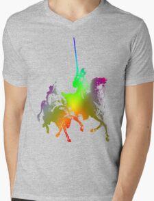Psychedelic Don Quixote and Sancho Panza Mens V-Neck T-Shirt