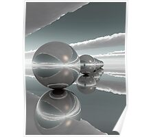 spheres in line dark grey Poster