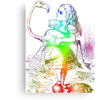 Psychedelic Alice With Colorful Flamingo Canvas Print