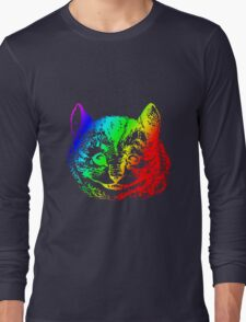 Psychedelic Cheshire Cat Trippy Alice Long Sleeve T-Shirt