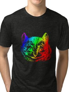 Psychedelic Cheshire Cat Trippy Alice Tri-blend T-Shirt