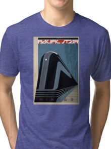 Pacific Star Vintage Railroad Travel Poster Restored Tri-blend T-Shirt