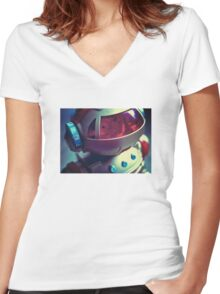 Retro Robot Women's Fitted V-Neck T-Shirt