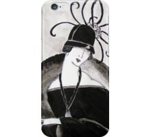 """*Ritzy"" Roaring Twenties Lady with cloche iPhone Case/Skin"