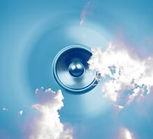 Spinning music speaker with clouds by steveball