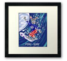 Peru surfer character-cartoon Framed Print