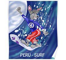 Peru surfer character-cartoon Poster