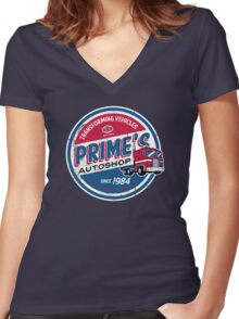 Prime's Autoshop Women's Fitted V-Neck T-Shirt