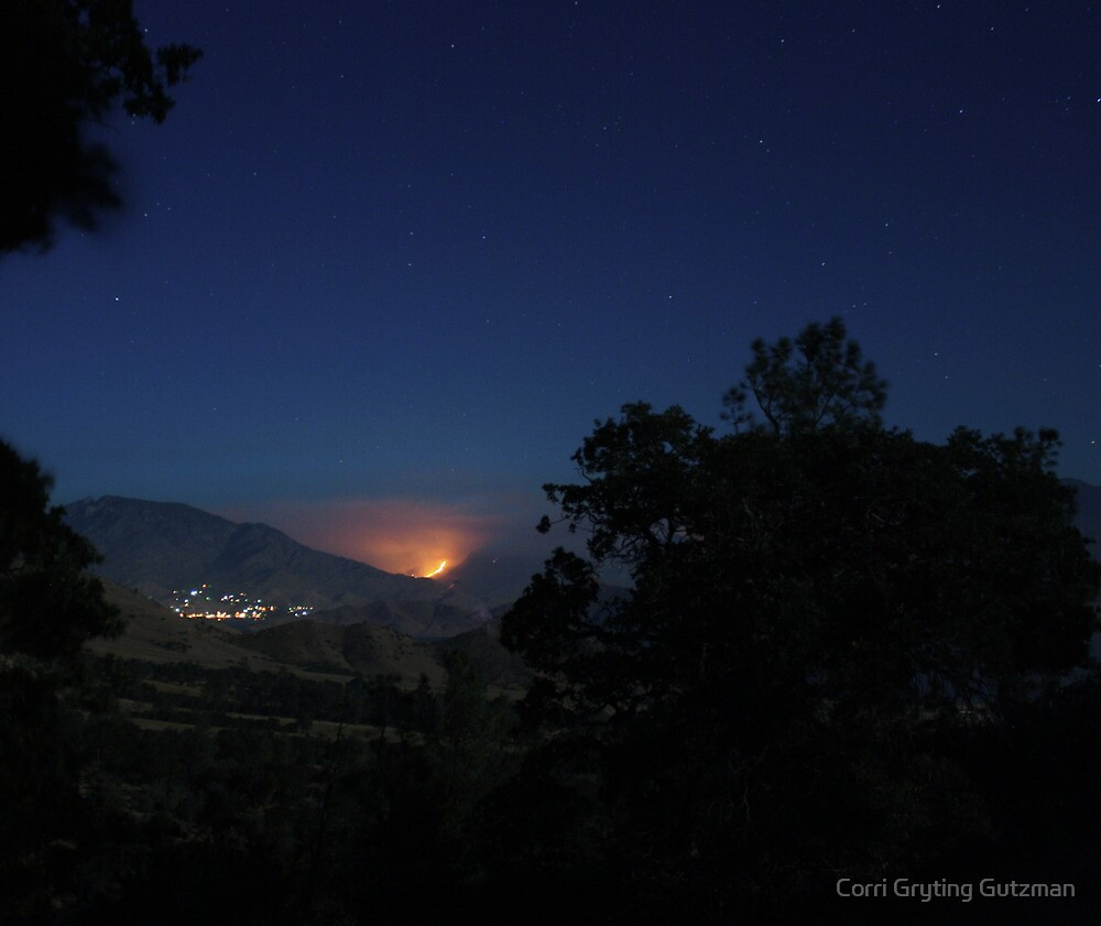 Bull Run Fire, Near River Kern, Behind Kernville 7/28/10 by Corri Gryting Gutzman