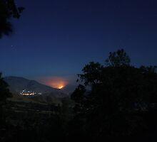 Bull Run Fire, Near River Kern, Behind Kernville 7/28/10 by Corri Gryting Gutzman