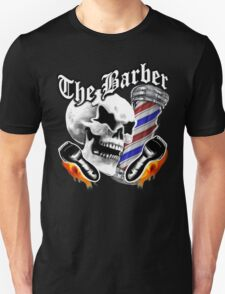 Barber Skull and Flaming Razors Unisex T-Shirt
