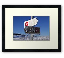 Fancy cycling in this weather? Framed Print