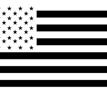 American Flag, NEGATIVE on white, America, Americana, Stars & Stripes, Pure & Simple, USA by TOM HILL - Designer