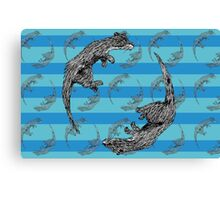 Playful Otters Canvas Print
