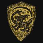 Shield up! Fear not, Medieval dragon shield t-shirt.  by patjila