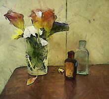 Floral with Two Vintage Bottles by suzannem73