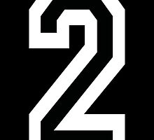 2, TEAM SPORTS, NUMBER 2, TWO, SECOND, Competition, White on Black by TOM HILL - Designer