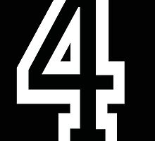 4, TEAM SPORTS, NUMBER 4, FOUR, FOURTH, Competition, White on Black by TOM HILL - Designer