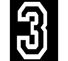 3, TEAM SPORTS, NUMBER 3, THREE, THIRD, Competition, White on Black Photographic Print