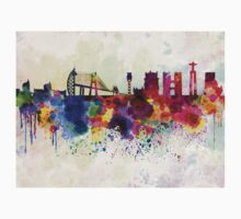 Lisbon skyline in watercolor background Kids Clothes