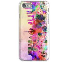 Tokyo skyline in watercolor background iPhone Case/Skin