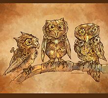 Three Clockwork Owls by Jessica Feinberg