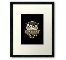 Vintage  Keep The Rock&roll Alive  Framed Print