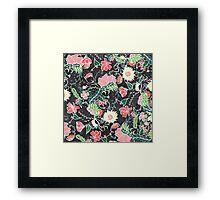 Pastel preppy hand drawn garden flowers chalkboard Framed Print
