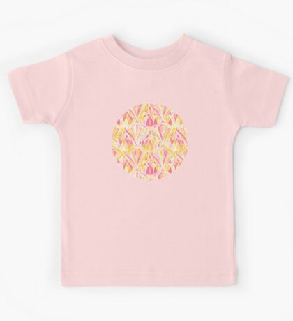 Art Deco Pattern in Pink and Orange Kids Tee