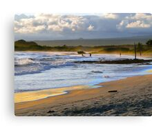 Beach Fun At Dusk On Isabela In The Galapagos Canvas Print
