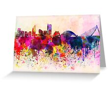 Valencia skyline in watercolor background Greeting Card