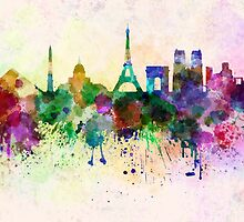 Paris skyline in watercolor background by paulrommer