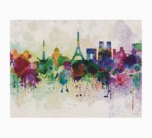 Paris skyline in watercolor background Kids Clothes