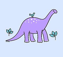 Purple Diplodocus Dinosaur with Bird by zoel