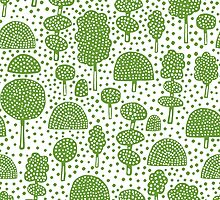 Arboretum 230715 - Avocado Green on White by Artberry