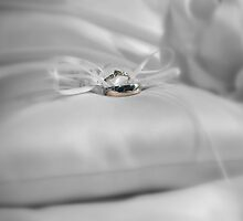 Wedding rings on a pillow by JAGgedEdgePhoto