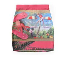 Pink Flamingo still life Mini Skirt